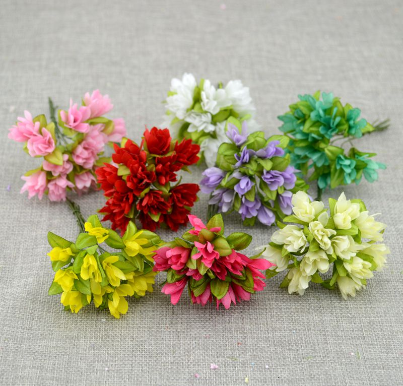 12pcslot artificial flower cherry simulation silk flower diy wreath material bride wrist flower wedding