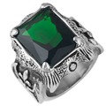 Men's Large Stainless Steel Crystal Dragon Claw Knight Cross Flower Gothic Vintage Ring , Silver Green