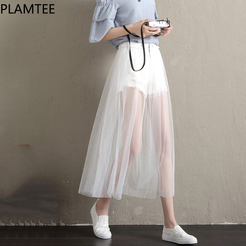 PLAMTEE 2018 New Skirt Shorts For Women Spring Summer Net Gauze Shorts Fake Two-piece Skirt Female High Waist White Short Jeans