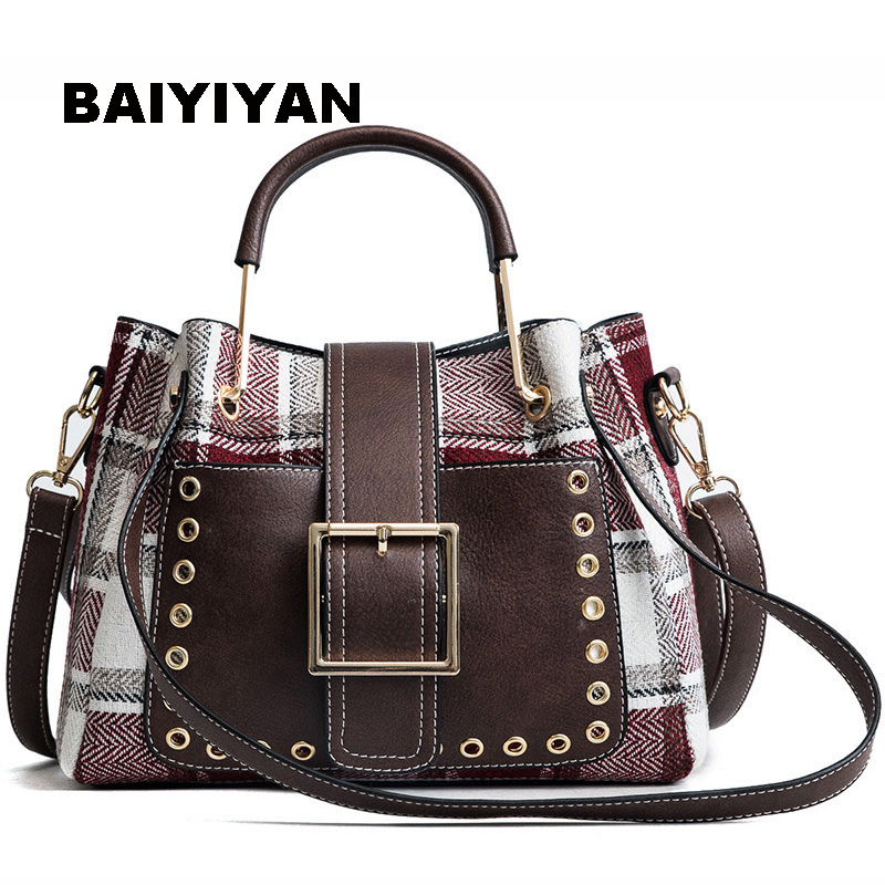 BAIYIYAN Brand High Quality PU Leather Women Bag Shoulder Bags Plaid Handbag Large Capacity Metal Top-handle Tote Bags