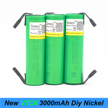 battery 18650 VTC6 3000mAh 30amps for screwdriver 18650 with strips soldered rechargeable batteries for electric cigarette  a7