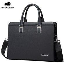 """BISON DENIM Genuine Leather Handbag Men Business Messenger Bag 14"""" Laptop Tablet leather Shoulder Bag Crossbody Male bags N2317"""