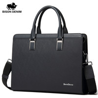 BISON DENIM Genuine Leather Handbag Men Business Messenger Bag 14'' Laptop Tablet leather Shoulder Bag Crossbody Male bags N2317