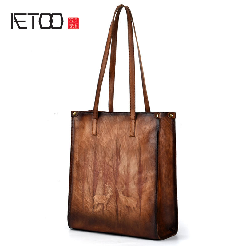 AETOO Rubbing shoulder bag fashion shopping bag handbag retro female bag tree high leather simple practical