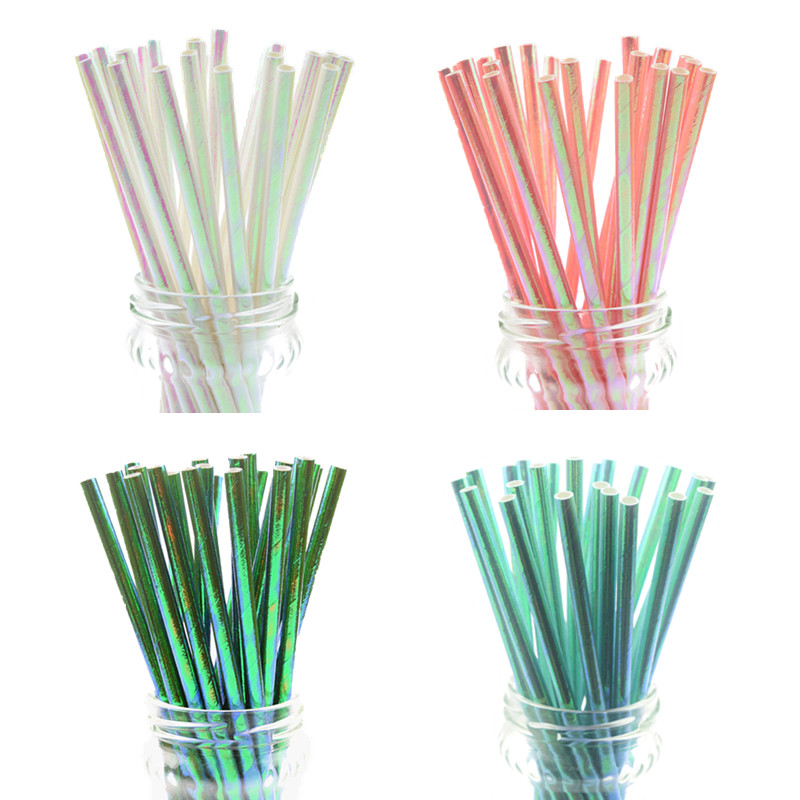 25pcs/lot Pearl Rainbow Iridescent Paper Straws Kids Birthday Wedding Decoration Bridal Shower Party Drinking Paper Straws DIY
