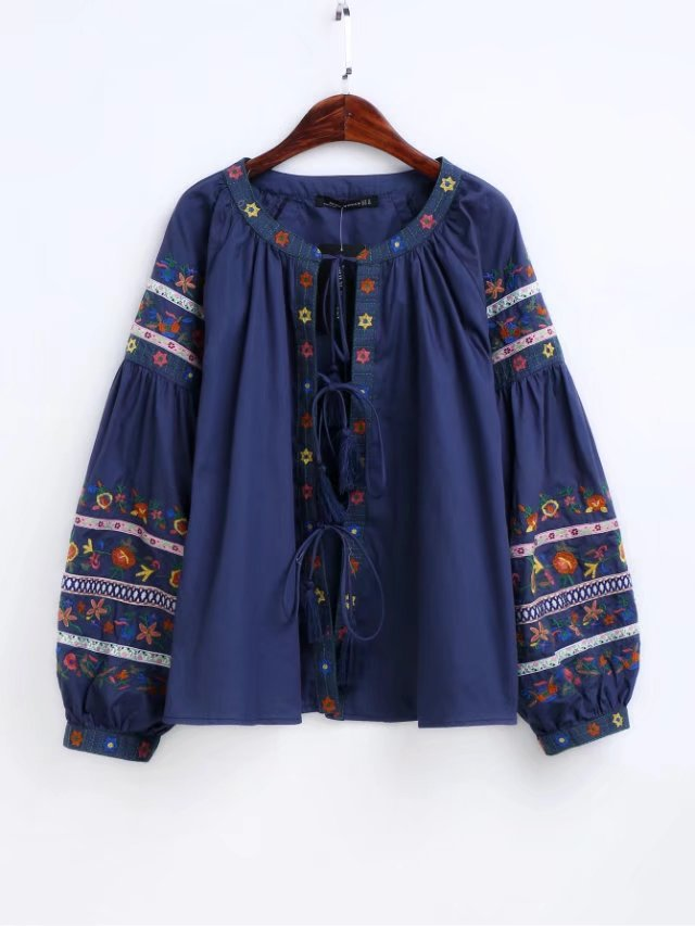 Spring Autumn Cardigan Women's Blue Cotton Embroidery Floral Long Sleeve Casual Blouses