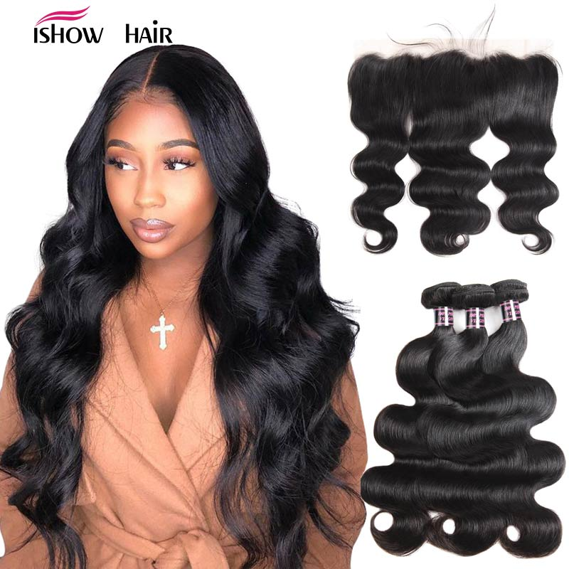 Ishow Body Wave Bundles With Frontal Human Hair Bundles With Closure Frontal Malaysian Hair Bundles With Closure Non Remy Hair