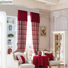 Luxury Chenille Curtains for Living Room Thick Plaid Drapes Bedroom Dinning Window Scotland Red Soft Blind Custom Made