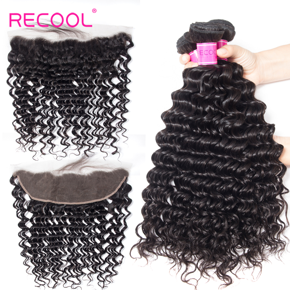Recool Hair Deep Wave Bundles Lace Frontal Closure With Bundles Brazilian Hair Weave Bundles Human Hair