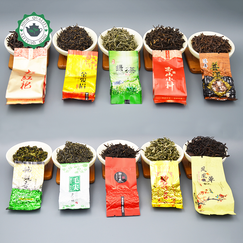 10 different flavors Pu er tea Famous Chinese oolong Dahongpao Tieguanyin Green Black jinjunmei maojian dancong