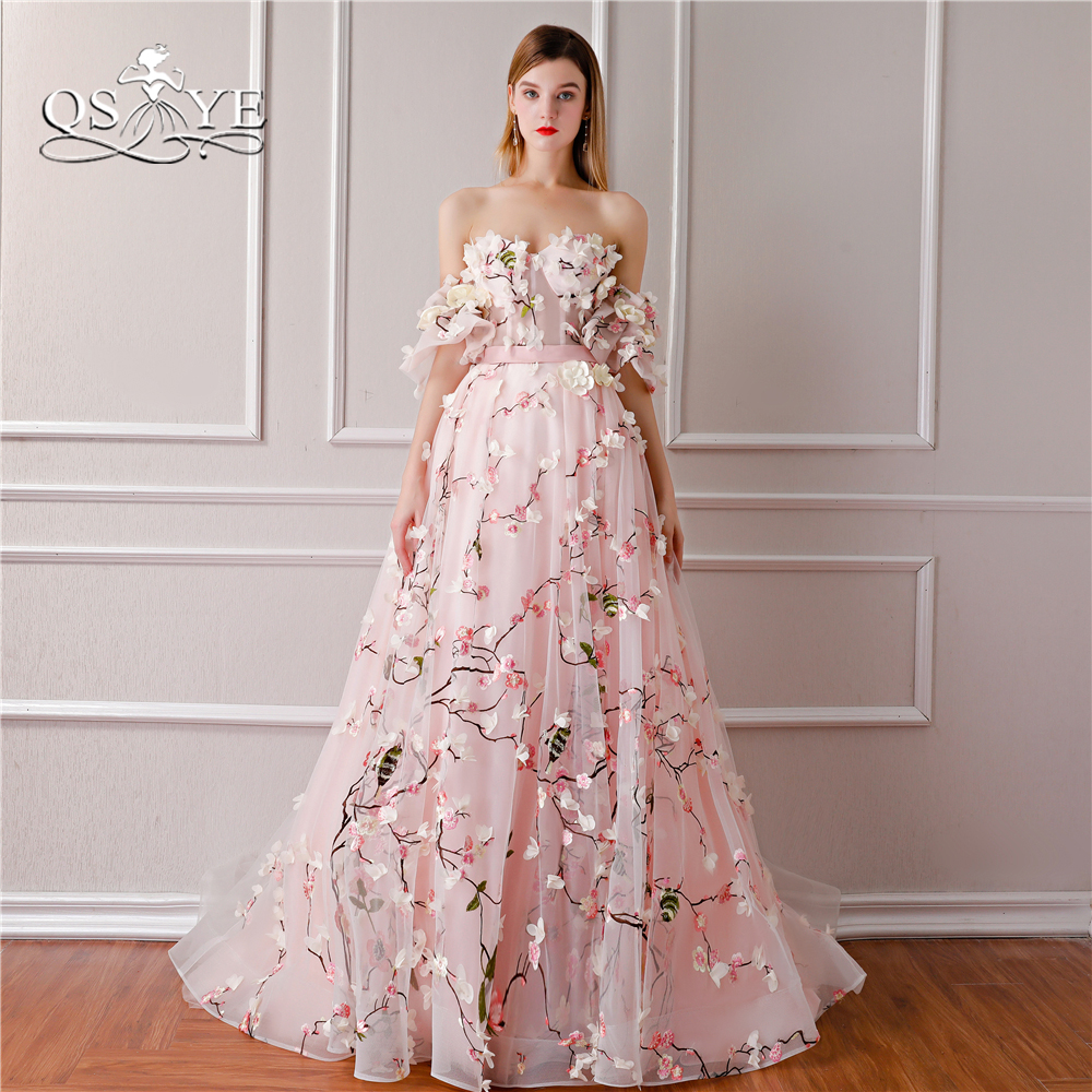 QSYYE 2018 New Arrival 3D Floral Flower Formal Evening Dresses Sweetheart Lace Sweep Train Vintage Prom Dress Party Gown (China)