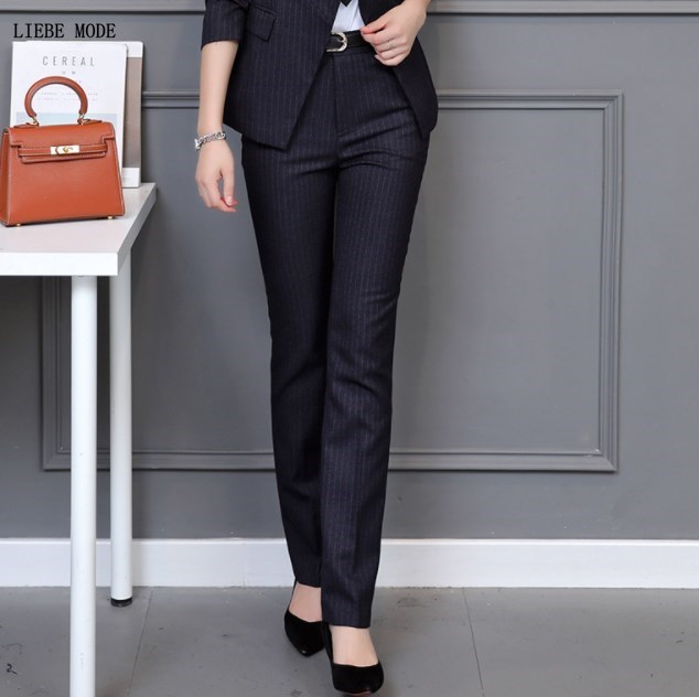 Office Ladies Business Formal Pants For Women High Waist Straight Trousers OL Career Work Bottoms Plus Size Striped Suit Pants