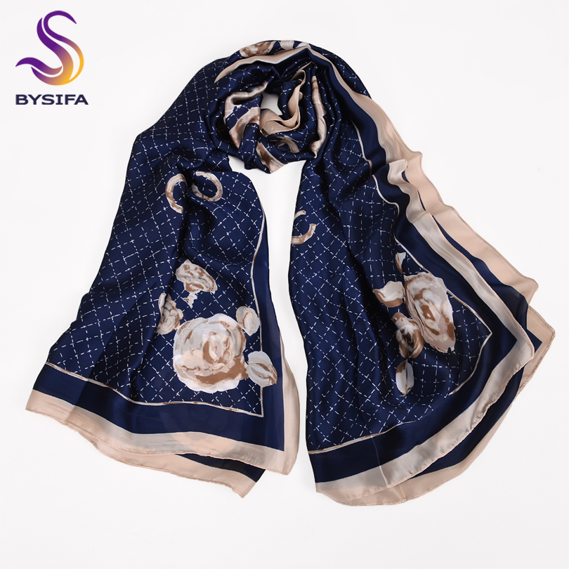 [BYSIFA] Navy Blue Women   Scarves   New Design Floral Letters Plaid Silk   Scarf   Shawl New Design Ladies Long   Scarves     Wraps   180*90cm