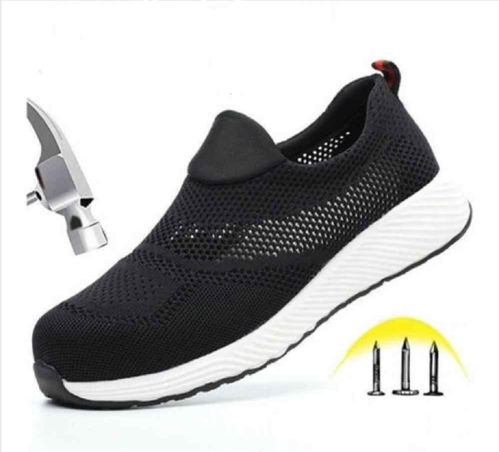 Vrouwen Mannen Stalen Neus Veiligheid Werk Schoenen grid Lichtgewicht Ademend Reflecterende Casual Sneaker Voorkomen piercing Beschermende laarzen