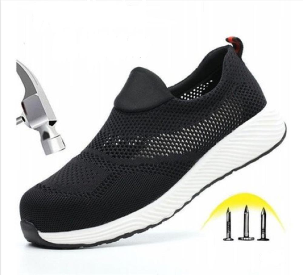 Women Men Steel Nose Safety Work Shoes Grid Lightweight Breathable Reflective Casual Sneaker Prevent Piercing Protective Boots