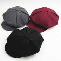 Couleur unie automne hiver béret chapeau casquettes bébé enfant en bas âge enfants garçons filles laine gavroche artiste casquette plate