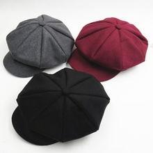 Solid Color Autumn Winter Beret Hat Caps Baby Toddler Kids Boys Girls Woolen Newsboy Artist Flat Cap