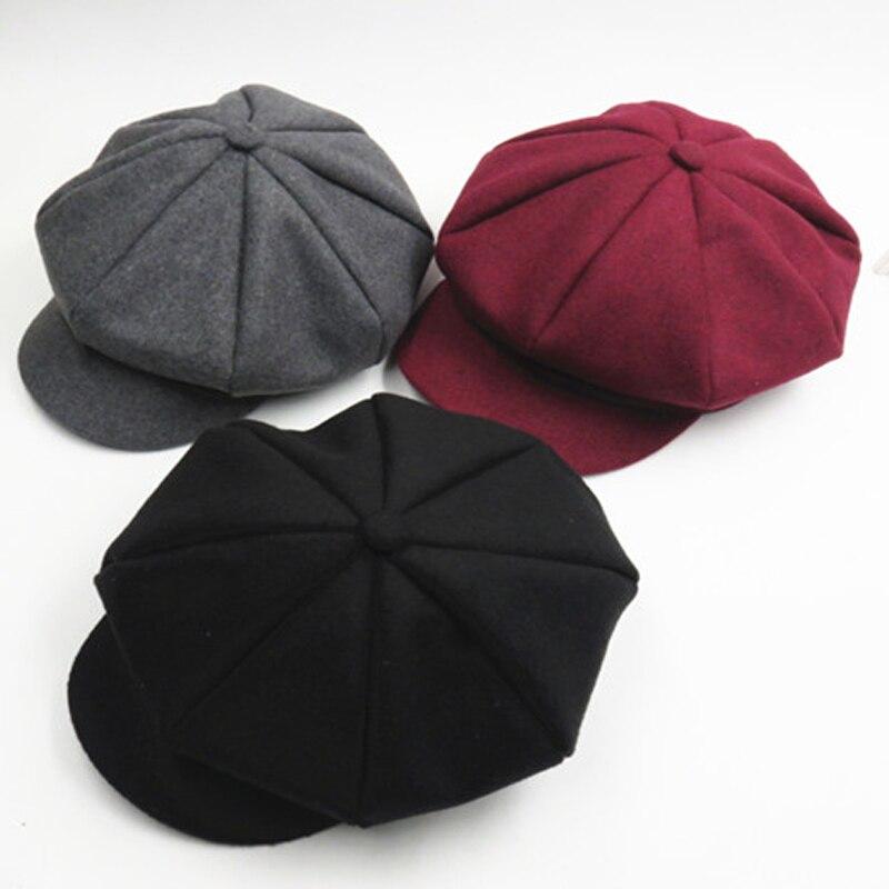 >Solid Color Autumn Winter Beret Hat Caps Baby <font><b>Toddler</b></font> <font><b>Kids</b></font> <font><b>Boys</b></font> Girls Woolen Newsboy Artist Flat Cap