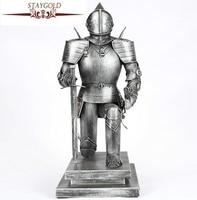 Vintage Metal Crafts Warrior One Knee Sword Armor Warrior Home Decoration Accessories