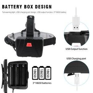 Image 4 - BORUiT XHP70.2 LED güçlü far 5000LM 3 Mode yakınlaştırma far şarj edilebilir 18650 su geçirmez baş feneri kamp avcılık için