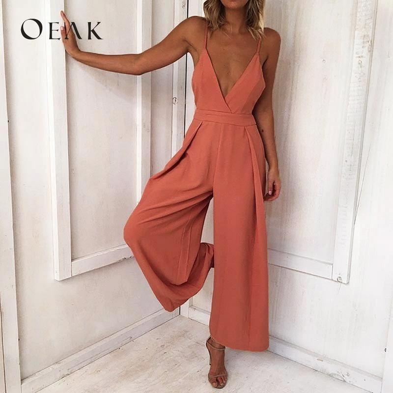 OEAK Women High Waist Sexy Loose Long Jumpsuits Solid Wide Leg Strap Overall Tie Up Backless Vacation V Neck macacao feminino