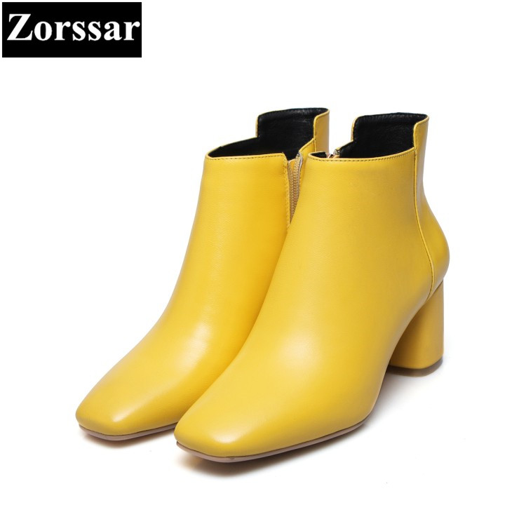 Pie Negro Corto Tacón amarillo Mujeres 2018 Genuino {zorssar} Invierno Del Cuero Las Botas Cuadrado De Tobillo Dedo Mujer Alto Moda Zapatos ZgqHP