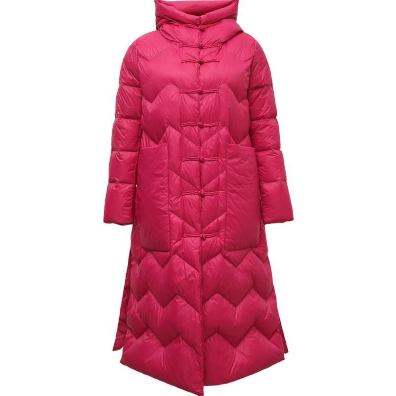 women's long Down jacket large size loose women's cloak jacket