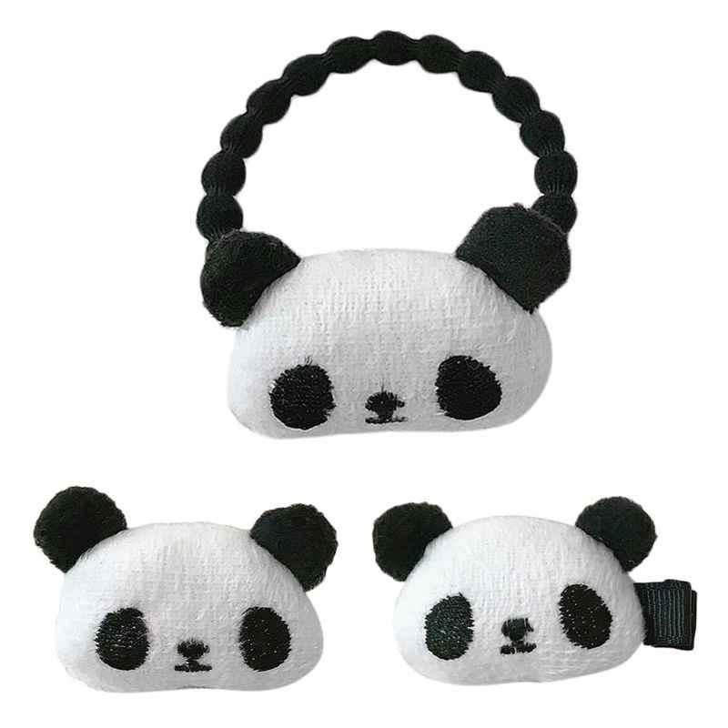 Kreatif Lucu Kartun Panda Hewan Wanita Gadis Rambut Klip Bros Boneka Plush Anak-anak Karet Ekor Kuda Rambut Aksesoris