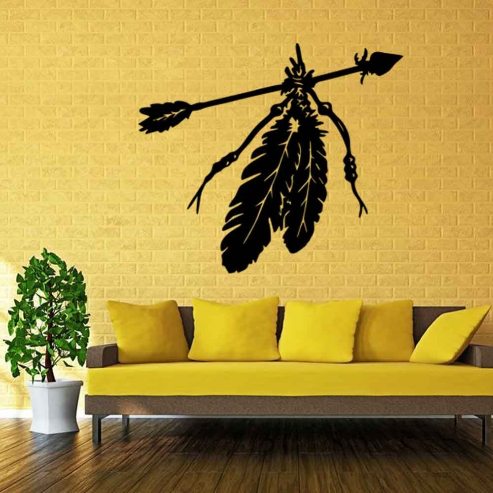 1pc 50*57CM Indian Feather Arrows Art Wall Sticker Living Room ...