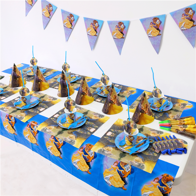 Beauty And The Beast Kids Birthday Party Decoration Set Party Supplies Baby Birthday Party Pack Event Party Supplies AW-1668