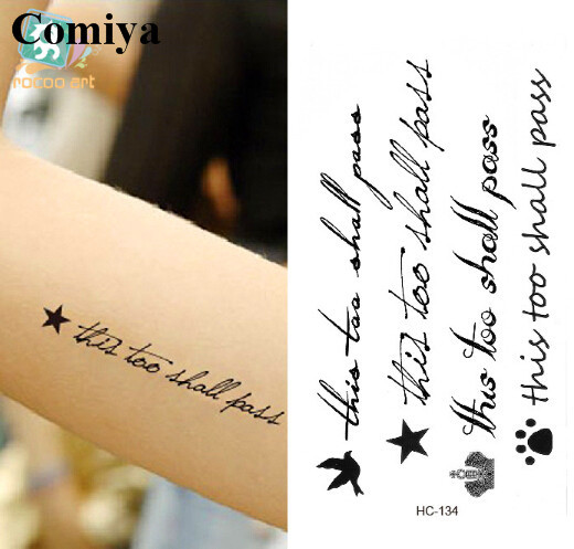 Hand Writing This Too Shall Pass Temporary Tattoo Sex Products Body
