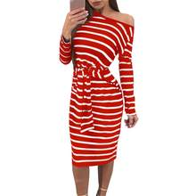 ce8dad1fb2c 2018 Ladies Sexy Off-shoulder Long-sleeved Dress Striped Dresses Tight Hip  Dress Casual