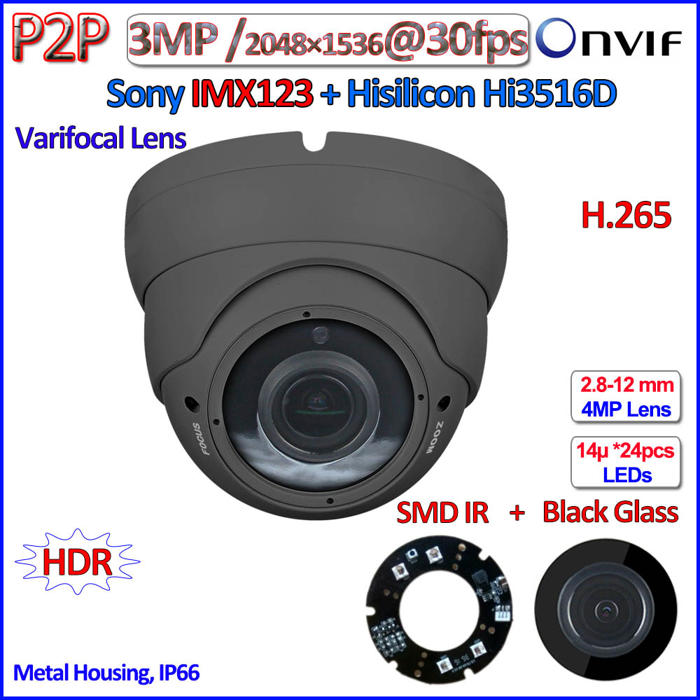 H.265 IMX123 Visione notturna telecamera ip 1080 p WDR 2MP CCTV Hisilicon Hi3516D 3.0MP onvif ip camera 2.8-12mm Lens, PoE, P2P, IR-CUT
