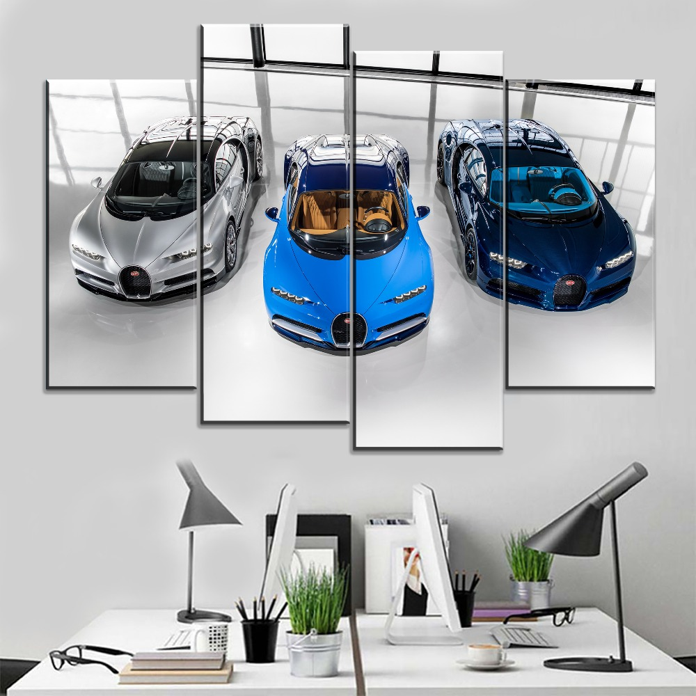 4 Panel Bugatti Chiron Supercar Picture Modern Office On The Wall Decorative Artwork Canvas Painting HD Printing Type Style