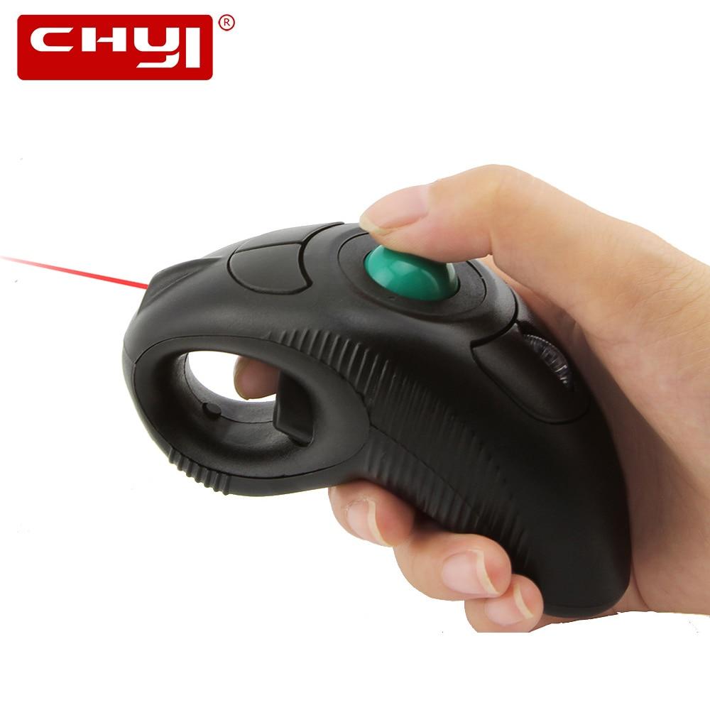 CHYI Wireless Laser Trackball Mouse Ergonomic 2.4G 1000 DPI կարգավորելի շարժական շարժական օդային մկաններ համակարգչի համար Laptop TV Box պրոյեկտորի համար
