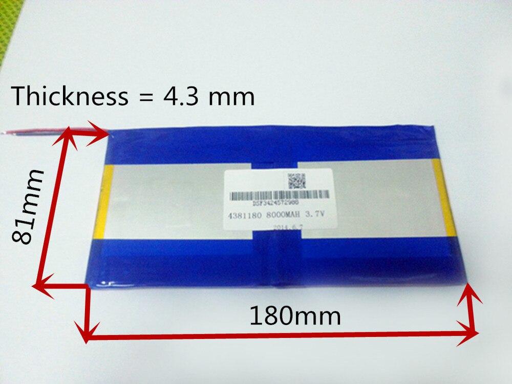 3.7 v, 8000 mah, [4381180] plib (bateria de íon de lítio de polímero) li-ion bateria para tablet pc, pipo m9 pro 3g/max m9 quad core