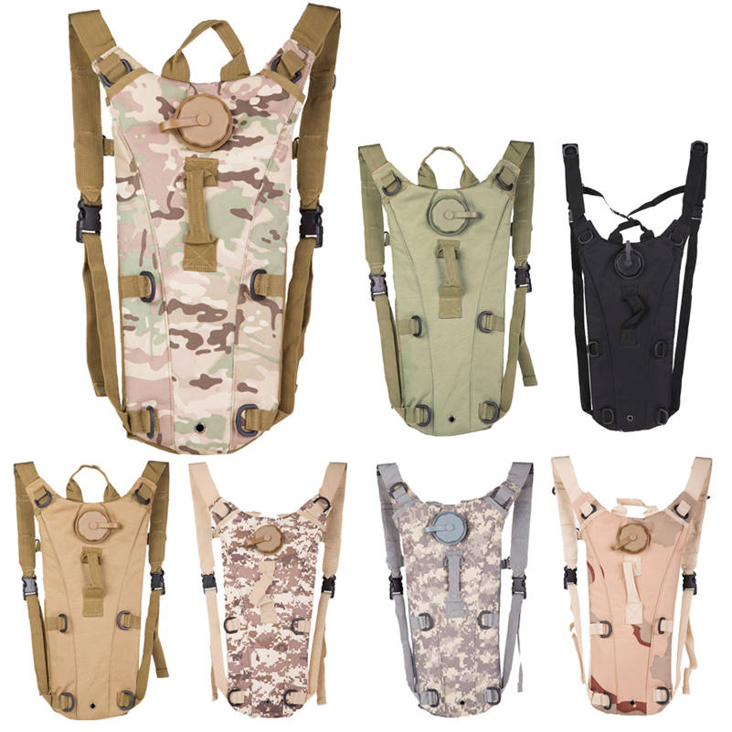3L Portable <font><b>Hydration</b></font> Packs Camo Tactical Bike Bicycle Camel Water Bladder Bag Assault Backpack Camping Hiking Pouch Tools 2017