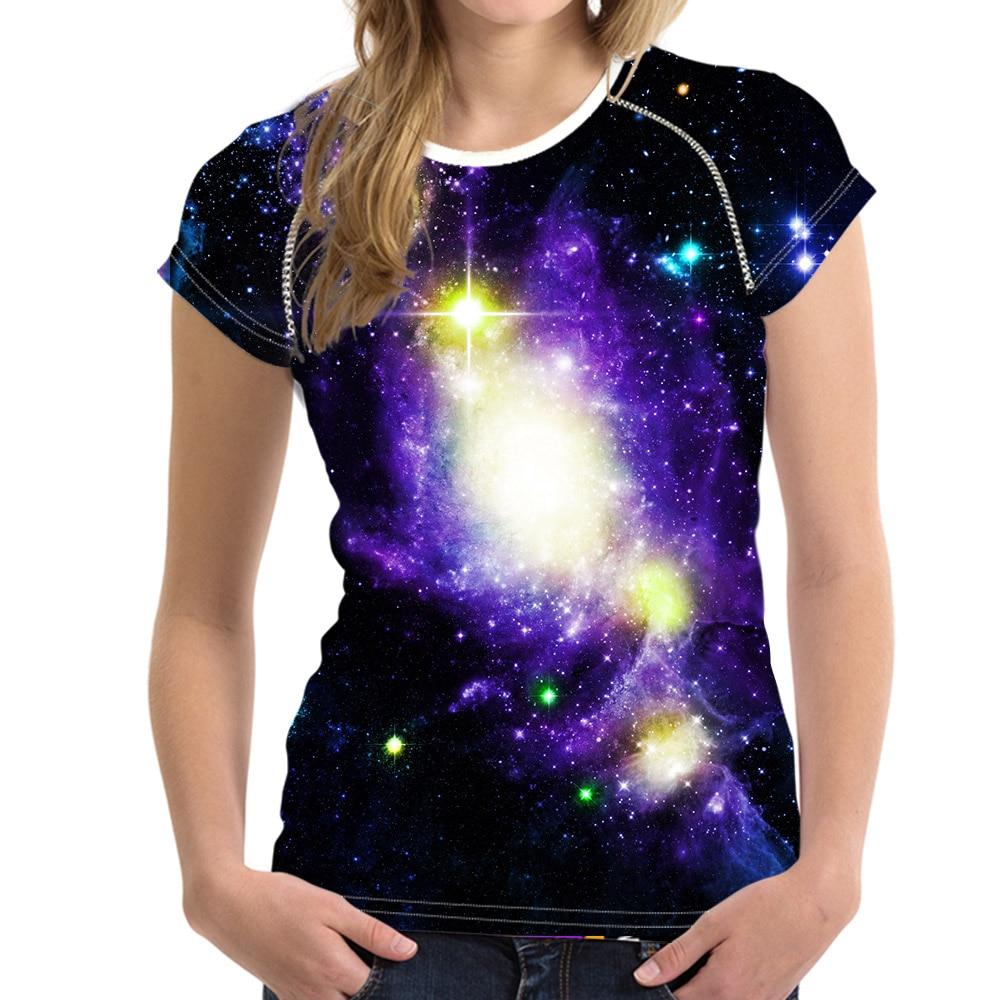 FORUDESIGNS Cool Galaxy Space Prints Women T Shirt Summer