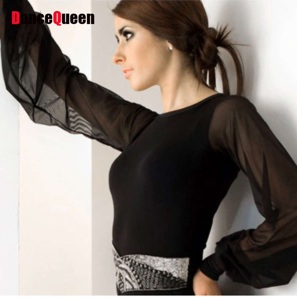 Ballroom Dance Tops For Women Lantern Sleeve Red/Wine Red/Blue/Purple/Black Dance Top Waltz/Jazz/Tango/Ballroom Competition Tops
