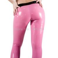 Pink Sexy Exotic Latex Leggings Pants Women Rubber Skinny Pants LTW064