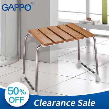 GAPPO Seats free standing bathroom chair bath seat Bamboo stainless steel bench bath shower chairs