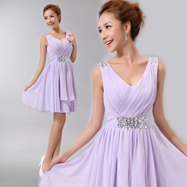 2361c8ced47e New Arrival Sleeveless Beaded Short Flowy Dresses Cheap Prices Bridesmaid  Dresses