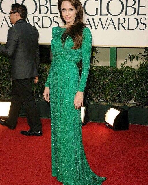 Brillante Lentejuelas Largo Verde Vestidos de La Celebridad 2016 Angelina Jolie Red Carpet Dress Encanto Una Línea de Manga Larga Vestido de Noche