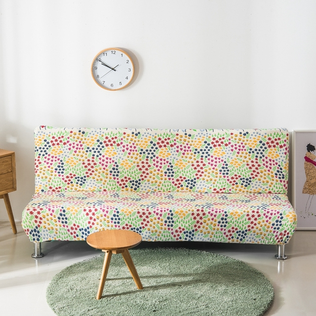 Sofa Bed Covers Beach Themed Flowers Couch Universal Stretch Furniture Armless Plants Pattern Slipcovers For Beds
