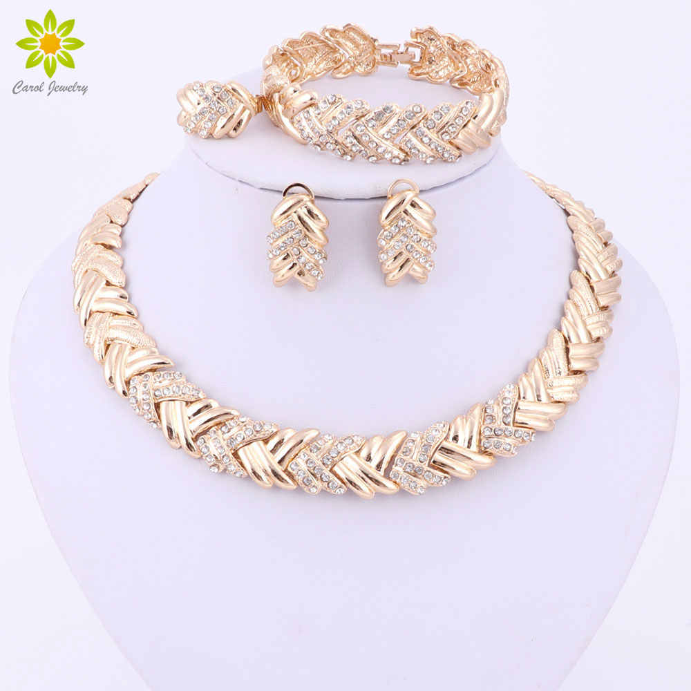 2017 Fashion Dubai Gold Color Jewelry Sets Costume Big Design Gold Color Nigerian Wedding African Beads Jewelry Sets