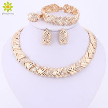 2017 Fashion Dubai Gold Color Jewelry Sets Costume Big Design Gold Color Nigerian Wedding African Beads Jewelry Sets(China)