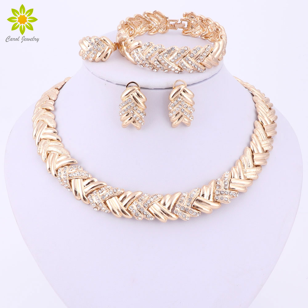 2017 Fashion Dubai Gold Color Jewelry Sets Costume Big Design Gold Color Nigerian Wedding African Beads