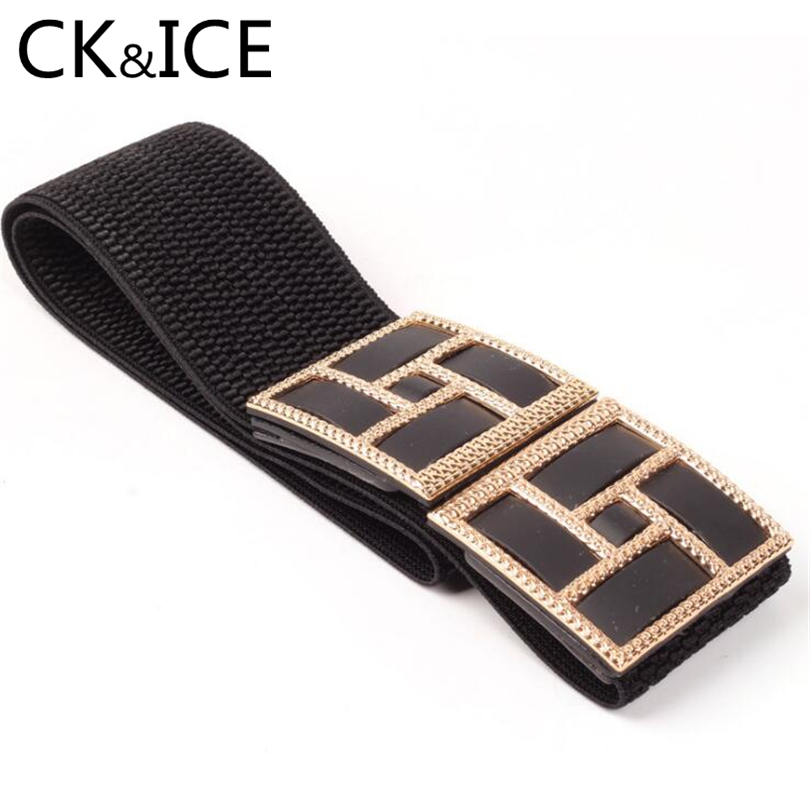 CK&ICE Fashion Women Faux Leather Elastic Waist Belts Female Red Black Geometric Pattern Decoration Ceinture Femme Women Belt