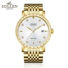 SOLLEN 9.9 MM relojes reloj mecánico automático de los hombres finos diamantes hombres calendario resistente al agua reloj hombre relojes de oro de harina