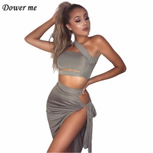 Dower me Bandage Summer Women Sets Cross Sheath Night Club outfits Sleeveless Lady Black Gray Strapless 2 Pieces cloth sets Y044